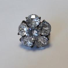 INEL argint FLOARE cu ZIRCONII splendid MASIV de efect VECHI patina MINUNATA rar