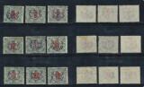 ROMANIA 1919 emisiunea Sibiu sursarj stema pe 9 timbre porto Ungaria stampilate