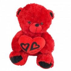 Ursulet de plus rosu cu inimioara imprimeu si mesaj 45 cm