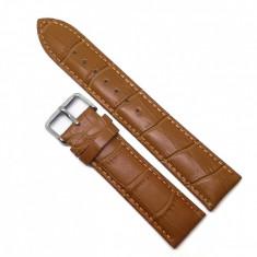 Curea de ceas - Piele Naturala - Antialergica - Maro Deschis - Imprimeu Crocodil - 14mm, 16mm, 20mm, 22mm, 24mm - WZ3800