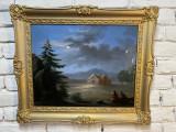 Peisaj romantic semnat si datat 1852, Peisaje, Ulei, Realism