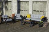 Set mobilier gradina / terasa Atlas Antracit / Gri, 2 fotolii + canapea 3 locuri + masa de cafea