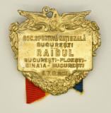 Insigna Soc. Sportiva Nationala Bucuresti -RAIDUL, 1921, 55x55mm