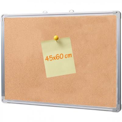 Panou din pluta 45x60 cm, rama aluminiu, afisare documente foto