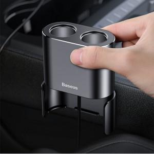 Incarcator Auto Baseus, High Efficiency Dual USB + Dual Cigarette Lighter, Negru