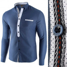 Camasa pentru barbati bleu slim fit casual Leon Special