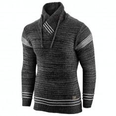 Pulover pentru barbati negru guler inalt flex fit casual Alaska Hutte