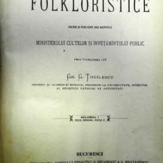 MATERIALURI FOLKLORISTICE de GR.G TOCILESCU VOLUMUL 1 PARTEA 2 ,BUCURESTI 1900