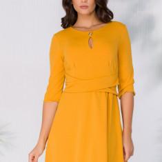 Rochie Narcisa galben mustar cu cordon fals in talie