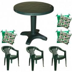 Mobiler terasa masa 80 cm cu 3 scaune Jokei culoare verde,3 perne scaun B001107 Raki