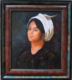 Tablou fata cu tulpan semnat Cimpoesu dupa Grigorescu.