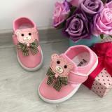 Espadrile roz cu ursulet adidasi f moi pt fetite / bebelusi 20 21 23 24