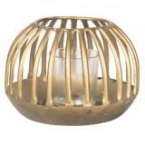 Suport lumanare din metal cupru si pahar din sticla Ø 15 cm x 10 h Elegant DecoLux, Clayre & Eef