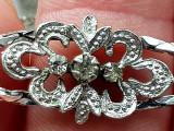 Bratara argint 835 rodiat - aspect aur alb - ART DECO - zirconiu briliant, Femei