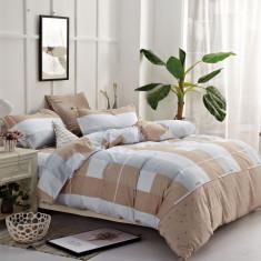 Lenjerie de pat din Bumbac Satinat pentru 2 persoane cu 4 piese F12A 02, 230x250 cm, Set complet