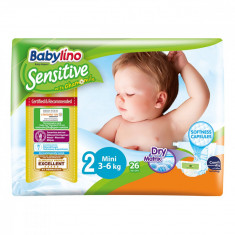 Scutece Babylino Sensitive, N2, 3-6 kg, 26 Buc.