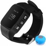 Ceas GPS Copii si Seniori iUni U100, Telefon incorporat, Pedometru, Notificari, Wi-fi, Black + Boxa Cadou