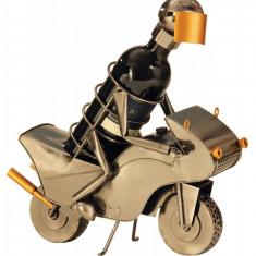 Suport metal pentru sticla vin motociclist H 35 cm