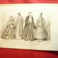 Reproducere veche - Gravura -Costume populare Tomsk Siberia si tanara din Kazan