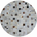 Covor de lux din piele, alb gri maro, patchwork, 200x200, PIELE DE VIT TIP 10