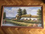 Tablou,pictura franceza in ulei pe panza,peisaj,dimensiuni mari