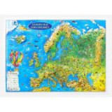 Europe map for children, 3D projection, 450x330mm (3DGHECP45-EN)