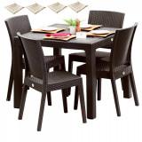 Set exterior gradina BLANZAC masa patrata CLASSI RATAN 90x90x75cm 4 scaune NICE polipropilen/fibra sticla culoare cafea,4 perne scaun B004306-42300-42