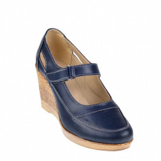 Pantofi dama cu platforma din piele naturala, foarte comozi - P9154BLM