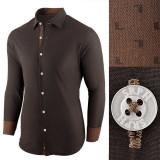 Camasa pentru barbati maro inchis regular fit casual Business Class Ultra