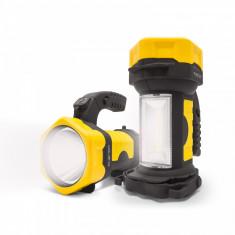 Lampa de lucru cu LED COB 2 in 1, maner rabatabil, cu baterii AA, acoperire ergonomica
