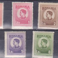 Romania 1943 -44 Mihai I, timbre fiscale postale serie 7v mnh
