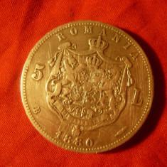 Moneda 5 lei 1880 Carol I , argint cal. buna ,mici zgarieturi
