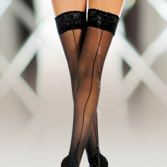 Ciorapi Cu Dantela Si Tiv Decorativ 5530 Negru - 3
