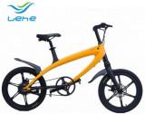 Bicicleta electrica Lehe S1, Viteza maxima 30 Km/h, Baterie LG, Far LED, Roti 20inch (Galben)