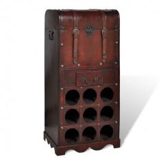 vidaXL Suport sticle vin pentru 9 sticle, lemn, spațiu de depozitare