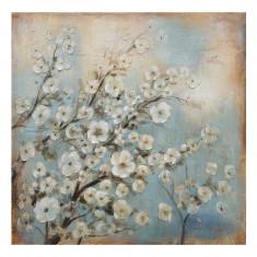 Tablou Pictat Blue/White Flowers 80x80
