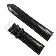 Curea de ceas Maro-inchis din piele naturala cu imprimeu soparla - 22mm - WZ3422