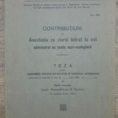 Contributiuni la anestezia cu cloral hidrat la cal...// 1936