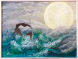 "Tablou pictat 30x40 cm pictura acrilica ""Sirena"", Marine, Acrilic, Suprarealism"