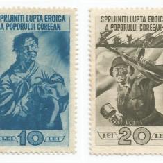 România, lot 203 cu 2 timbre fiscale de ajutor, Lupta pop. coreean, em. I, MNH