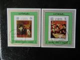 Bloc timbre pictura Medicina stampilat Ajman timbre arta picturi Miniblocuri
