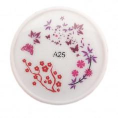Stampila pentru unghii MMM3-A25, model floral