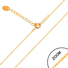 Lanţ realizat din aur galben de 14K - zale ovale lucioase, 450 mm