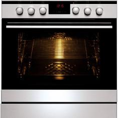 Aragaz mixt Hansa Integra FCMX69215, cuptor electric, 60 cm, 2 zone, 2 arzatoare, display, 10 functii, grill, ventilator, rotisor, sertar depozitare,