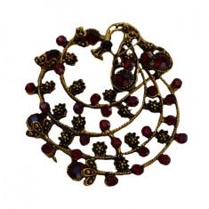 Brosa chic cu aspect de floare sau paun, cu strasuri fine, colorate