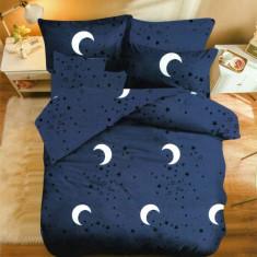 Lenjerie de pat dublă, bumbac de finet, 6 piese, model Moon