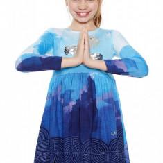 Rochie fete, evazata cu norisori Clouds, Desigual, Marimea 7-8 ani, Albastru