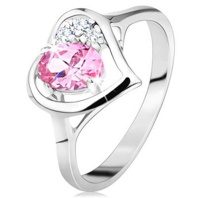 Inel de culoare argintie, contur în formă de inimă cu un zirconiu oval roz și cu zirconii transparente - Marime inel: 50 foto