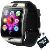 Cumpara ieftin Smartwatch cu telefon iUni Q18, Camera, BT, 1.5 inch, Argintiu + Card MicroSD 4GB Cadou