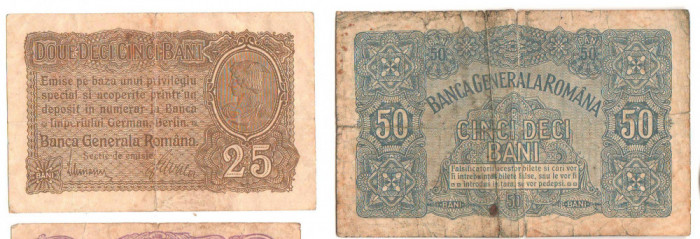 SV * BANCA GENERALA ROMANA * 25 si 50 BANI 1917 * Guvernul in Exil la Iasi   WWI